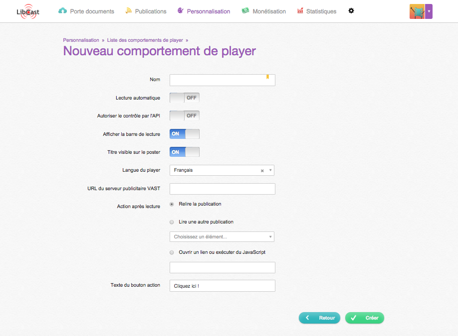 Les comportements de player
